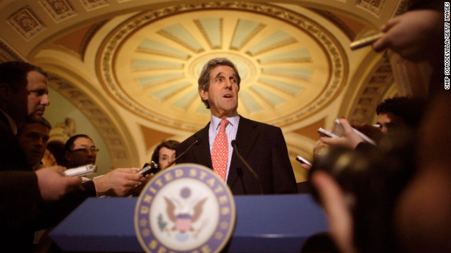 Kerry talks to reporters after a closed session about the new START Treaty, a ratification of a nuclear-arms treaty with Russia, in the Old Senate Chamber at the U.S. Capitol on December 20, 2010.
