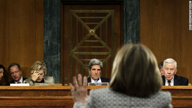 Secretary of State Hillary Clinton testifies before, from right, ranking member Sen. Richard Lugar, committee chairman Kerry and Sen. Barbara Boxer during a hearing before the Senate Foreign Relations Committee on March 2, 2011.