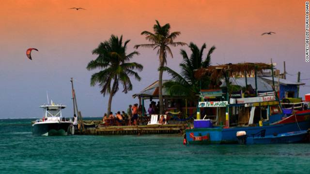 Caye Caulker is a laid-back coral island just off the Belize coastline in the Caribbean. You reach it by water taxi, and there are no cars there.