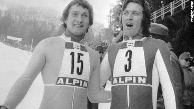 Franz Klammer (left) won gold in the 1976 Olympics in downhill with Bernhard Russi (right) in second place after a dramatic race in Innsbruck.