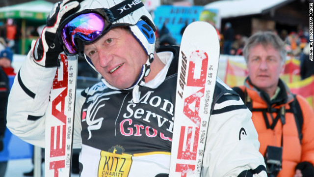 Klammer shows off his skills to the current day as he takes part in a charity race at Kitzbuhel last year.