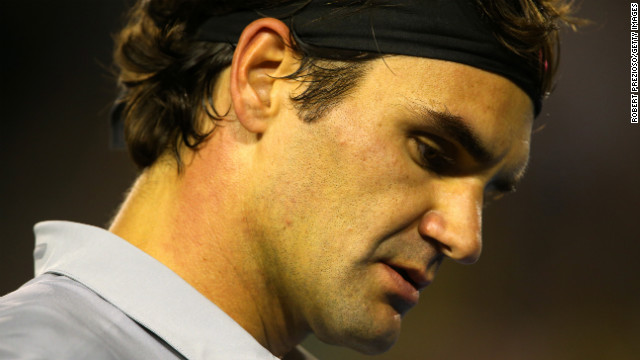 Roger Federer of Switzerland plays a semifinal match against Andy Murray of Great Britain on January 25.