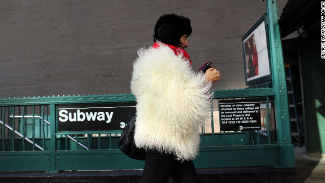 Much of the Northeast is experiencing colder than usual temperatures, but the weather doesn't deter this woman on Wednesday, January 23, in New York.