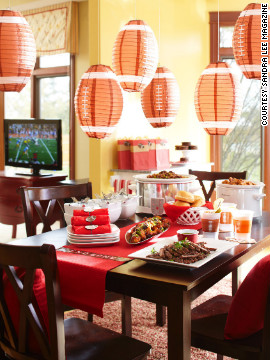 Sandra Lee's game day buffet tablescape.