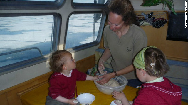 The Brossier family aboard their polar vessel,<i> Le Vagabond</i>. Eldest daughter Leonie (right) was only 12 days old the first time she boarded the vessel.