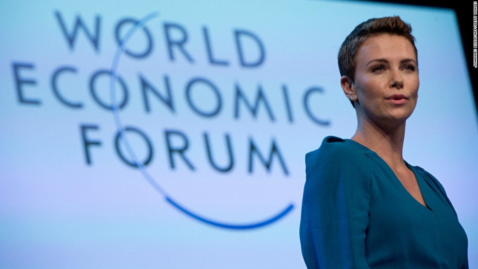 "South African actress Charlize Theron picked up the 2013 World Economic Forum Crystal Award for her humanitarian work. The Oscar winner reportedly said: ""There is such incredible brain trust in this room I feel I'm getting smarter by osmosis."""