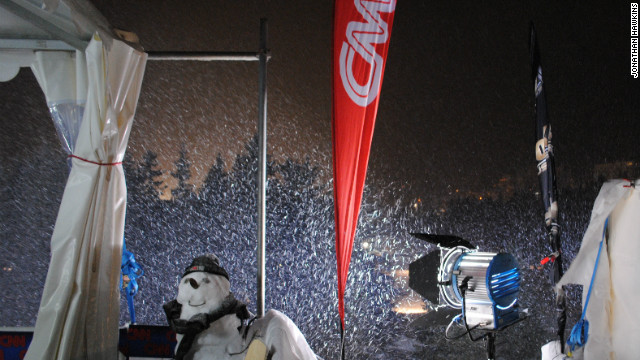 The CNN snowman chills out after a hard day at work. 
