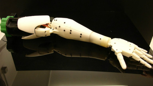 Each part of the robot has been built in stages, limb by limb. When Langevin completes a stage, he posts all the building instructions, including 3D printing files, on his public blog. Currently without a torso or legs, the robot is still a work in progress.