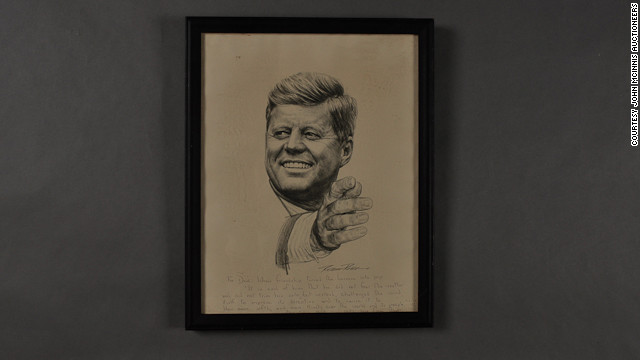 Lithograph of Kennedy by Robert Rogers. Annotations to Dave Powers and signed &quot;Ethel.&quot;