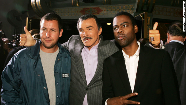 Adam Sandler, Reynolds and Chris Rock pose at the premiere of Paramount Pictures' remake of &quot;The Longest Yard&quot; on May 19, 2005, in Los Angeles, California. 