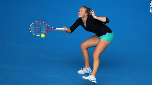 Katerina Siniakova of the Czech Republic plays a forehand in her junior girls' final match against Ana Konjuh of Croatia on Saturday. Konjuh won the championship 6-4 6-4.