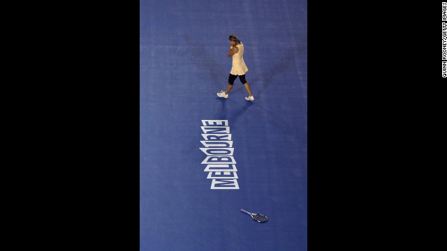 Victoria Azarenka of Belarus celebrates winning her women's final match.
