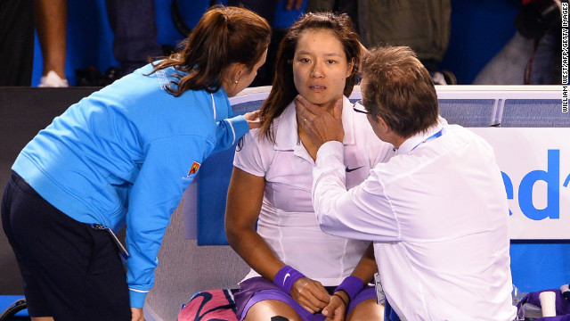 The 30-year-old also needed treatment in the deciding set, when she went over on her ankle again and then hit her head on the court.