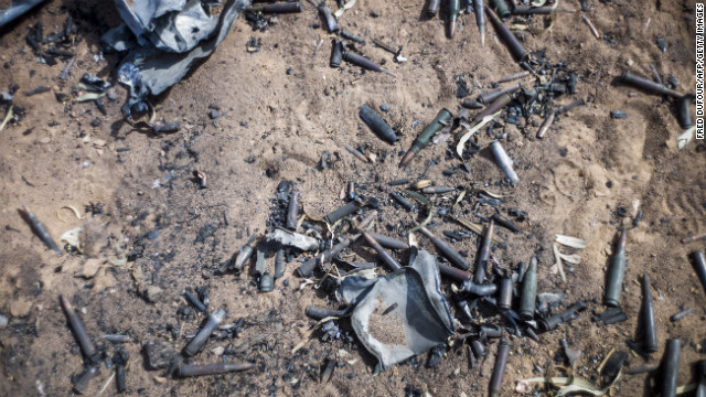 Ammunition lies on the ground in Konna.