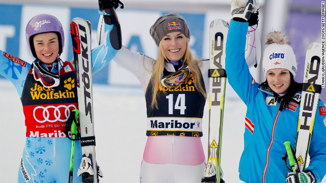 Lindsey Vonn (center) won her 59th World Cup race in Slovenia, heading off overall leader Tina Maze (left) and Austria's Anna Fenninger.