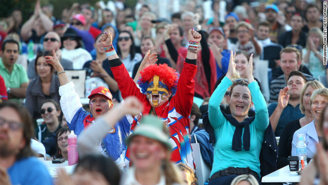 Crowds cheer during the men's singles final match on January 27.