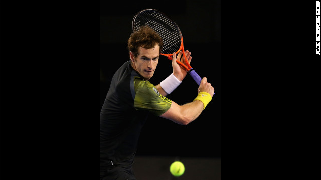 Murray plays a backhand on January 27.