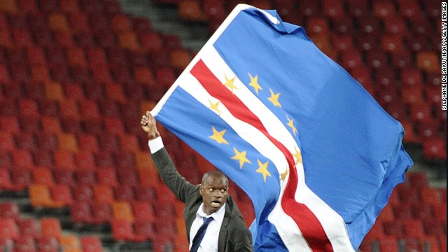 Cape Verde coach Luis Antunes celebrates his side's qualification for the last eight of the Africa Cup of Nations.