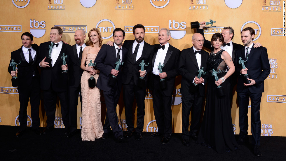 "The actors from ""Argo"" were among Sunday night's winners at the Screen Actors Guild Awards. They won the award for outstanding performance by a cast in a motion picture. Click through to see other winners of the coveted statuettes. (Not pictured: Tommy Lee Jones, who won outstanding performance by a male actor in a supporting role for ""Lincoln,"" and Kevin Costner, winner for outstanding performance by a male actor in a television movie or miniseries for ""Hatfields & McCoys,"" as neither was present at the ceremony.)"