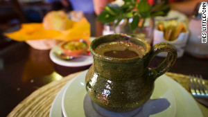 Chocolate, Oaxacan style, served warm with water. 