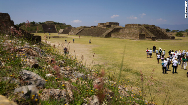 Monte Alban archaeological site near Oaxaca sits on a scenic hilltop.