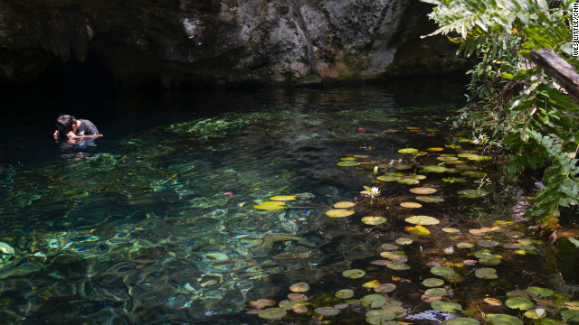Near Tulum on the Yucatan Peninsula, the Grand Cenote offers subterranean swimming. A cenote is an underground lake or river, common in the Yucatan Peninsula because of a limestone shelf that forces water underground before it can collect. 
