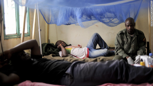 Wounded Malian soldiers rest after receiving medical care at the Polyclinique of Kati on Sunday, January 27.