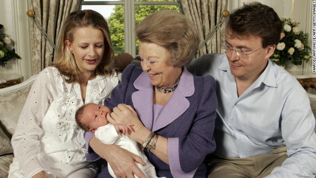 Beatrix, Friso and Mabel pose at the Palace Huis ten Bosch with the couple's new baby, countess Luana, on April 24, 2005.