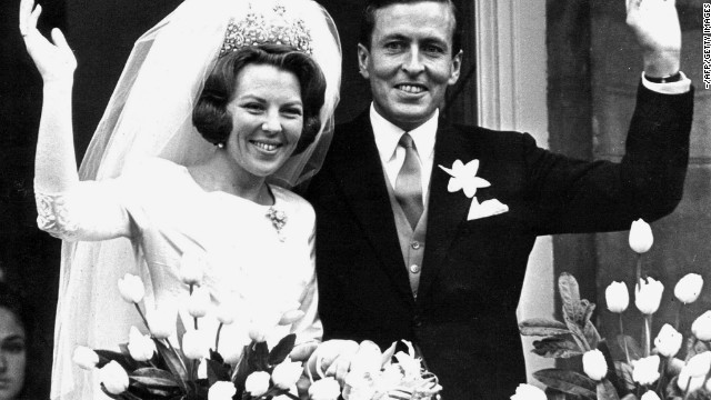 Newly wed Beatrix and Prince Claus in Amsterdam on March 10, 1966. Prince Claus died aged 76 on October 6, 2002 at a hospital in Amsterdam.