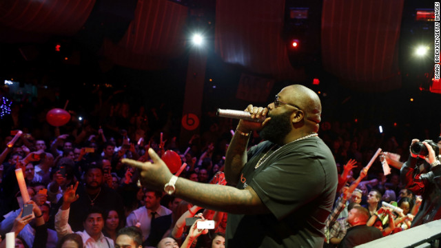Rapper Rick Ross performs at the Beats by Dr. Dre CES after-party in Las Vegas on January 10.