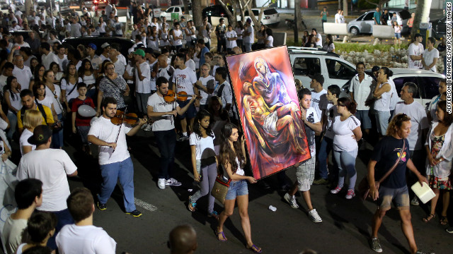 Residents march along Rio Branco Avenue on January 28, demanding justice for and to honor the Kiss nightclub fire victims.