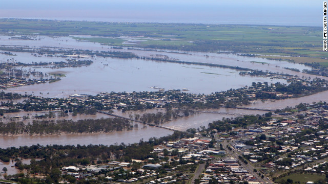 An aerial view shows rising floodwaters in Bundaberg on January 29.