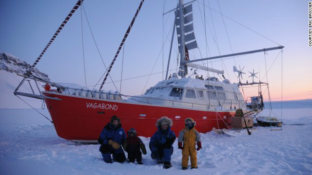 The Brossier family wrap up warm in front of their yacht, &lt;i&gt;Le Vagabond&lt;/i&gt;. The family have spent the last eight winters living and carrying out research work in the northern polar regions.