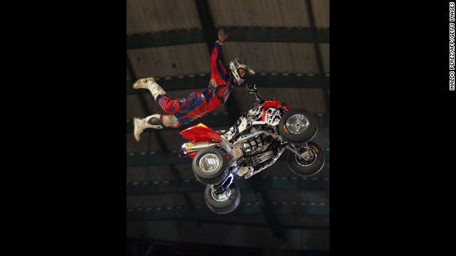 X Games snowmobiler Caleb Moore, seen here in 2008, was struck by his 450-pound snowmobile during a mishap last week.