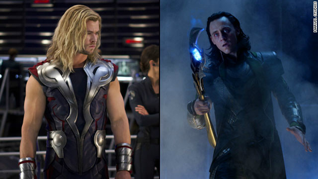"The good-versus-evil brotherly battle between Marvel comics characters Thor, left, and Loki was the core of last year's record-breaking blockbuster movie, ""The Avengers."""