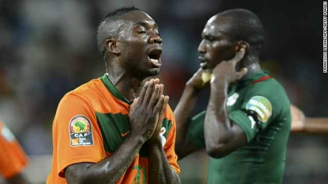 Zambia's Emmanuel Mayuka shows his frustration during his side's goalless draw with Burkina Faso.