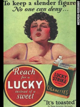 1925: The Lucky Strike cigarette brand launches the &quot;Reach for a Lucky instead of a sweet&quot; campaign, capitalizing on nicotine's appetite-suppressing superpowers.
