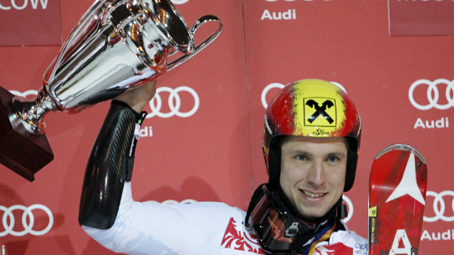 Marcel Hirscher celebrates his blazing victory in the Moscow parallel slalom.