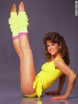 "1982: The aerobics craze steps into high gear when Jane Fonda launches her first exercise video, ""Workout: Starring Jane Fonda."" Her catch phrase: ""No pain, no gain."""
