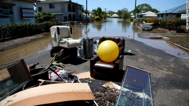 Debris lies in a street in Bundaberg, Australia, on Wednesday, January 30.