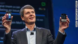 BlackBerry CEO Thorsten Heins displays the new Blackberry 10 smartphones at a launch event in January.