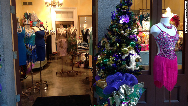 Businesses are decked out in purple, green and gold for Carnival.