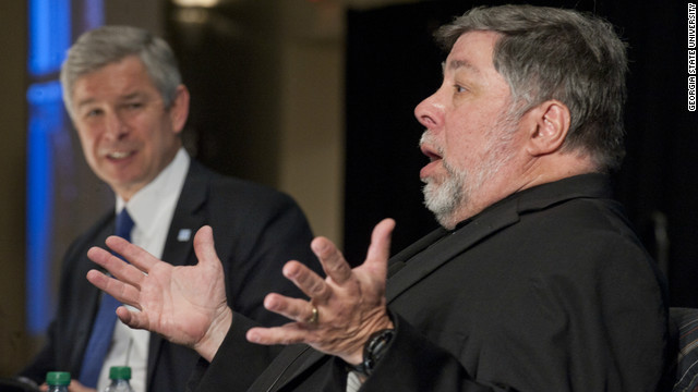 Apple co-founder Steve Wozniak, right, speaks with Georgia State University Mark Becker during Wednesday's event.