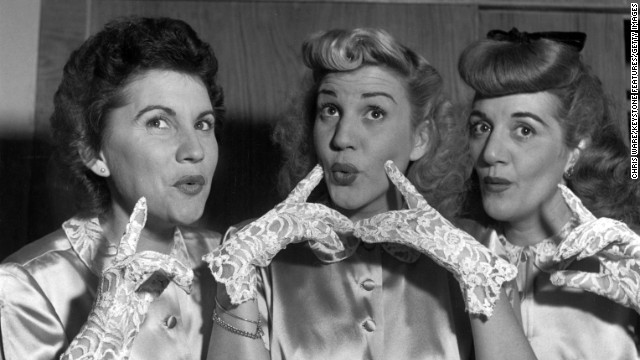 <a href='http://www.cnn.com/2013/01/30/showbiz/patty-andrews-obit/index.html'>Patty Andrews</a>, center, the last surviving member of the Andrews Sisters, died at her Northridge, California, home on January 30, her publicist Alan Eichler said. She was 94. Patty is seen in this 1948 photograph with her sisters Maxene, left, and Laverne.