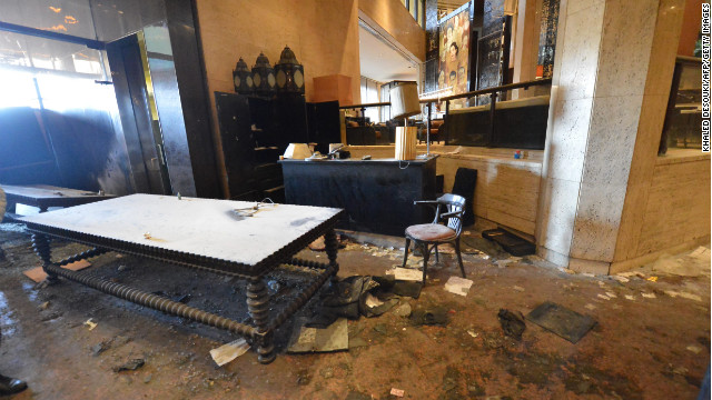 The lobby of Cairo's Semiramis InterContinental Hotel is full of debris on January 29 after protesters stormed the entrance.