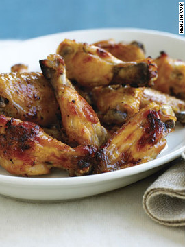 These spiked wings have a tangy lemon taste and are baked, not fried. Plus, they only have 173 calories per serving! Try this recipe: Lemon-drop chicken wings