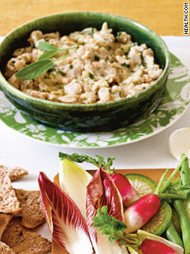 Mashing cannellini beans with olive oil, garlic and sage creates the same creamy consistency as sour-cream-based dips, for 320 calories. Try this recipe: White bean dip