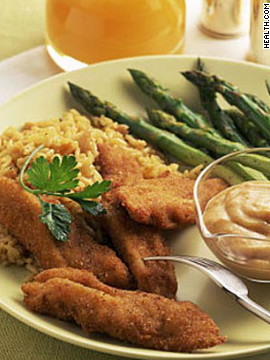 Baking these 190-calorie chicken strips keeps them low-fat, but the seasoning and bread crumbs create a faux-fried texture. Try this recipe: Smoky chicken fingers