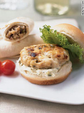 Garlic powder, ground turkey and Gorgonzola cheese make these 169-calorie miniburgers the perfect protein-packed finger foods. Try this recipe: Mini turkey burgers