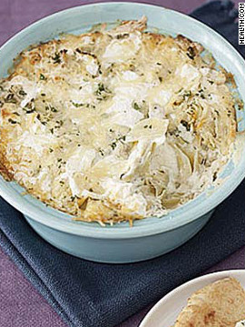 This chunky dip contains more than 25% of your daily calcium needs for only 159 calories per serving. Try this recipe: Artichoke dip